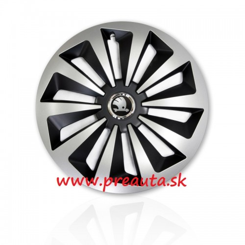 "Puklice Škoda 16"" Fox Ring Mix sada 4ks - čierny znak"