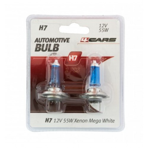 4CARS 12V H7 55W Xenon Mega White 2ks (double blister) - VYPREDANE