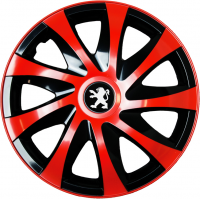 "PUKLICE PRE PEUGEOT 15"" DRACO red/black 4ks"